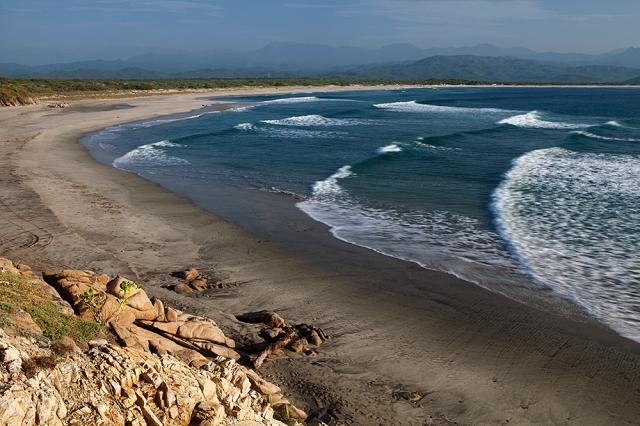 Los hidrocarburos pueden llegar a las costas y contaminar playas de anidación de tortugas marinas. Playa Morro Ayuta. Foto: Claudio Contreras Koob
